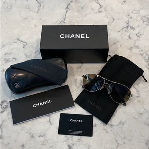 CHANEL Quilted Leather Polarized Aviator 🕶